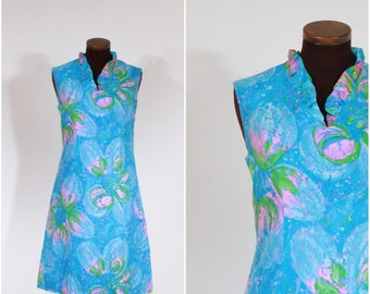 Vintage 60s Blue and Pink Lace Sheath Dress S/M