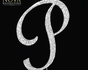 "Crystal Rhinestone Silver Letter ""P"" Monogram Wedding Anniversary Cake Topper, Large"