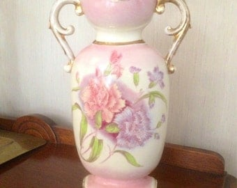 "Empire Works Stoke on Trent England Pink and Gold 12"" vase"
