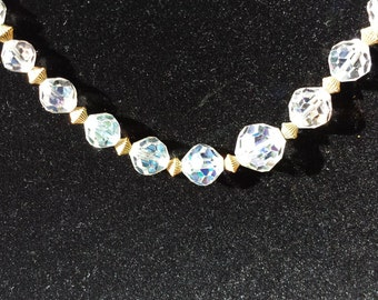 Aurora Borealis Bridal Crystal Necklace Single Strand 1950s D082-6