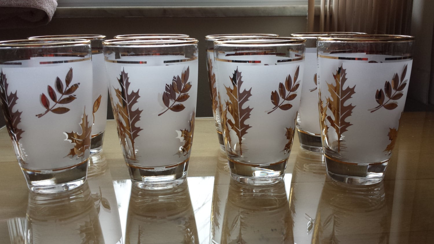 Libbey Frosted Gold Leaf Small Tumbler Glasses Retro