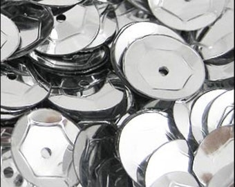 Metallic Silver Cupped Sequins 8mm - JR02693