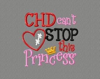 4x4 CHD Princess 4x4 Embroidery design, CHD awareness, heart disease