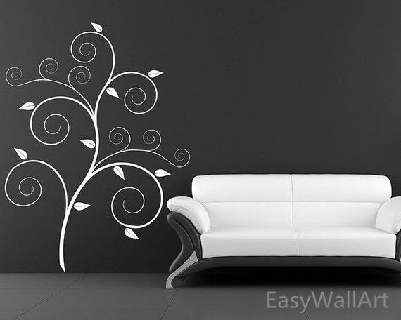 Scroll Tree Wall Decal, Autumn Tree Wall Sticker for Living-room, Bedroom, Office,  Nursery & Beautiful Tree Wall Decor #F64