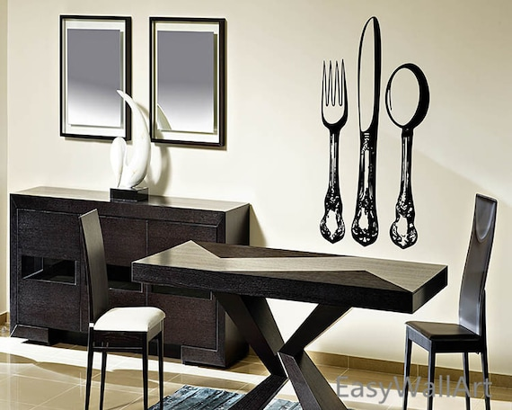 Silverware / Flatware Wall Decal - Fork, Knife and Spoon Decal - Kitchen Vinyl Wall Art Decor - Dinning Room Decal & Dinner Service  #M31