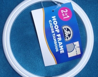 "DMC Round Plastic Flexi Hoop 13cm/5""  White - Use as embroidery hoop and frame."