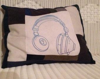 100% Handmade Vintage Patchwork Pillow  Up-cycled/Repurposed Overstuffed, Headphones