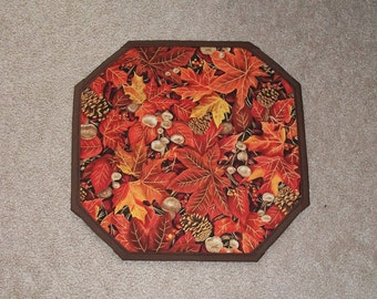 Kitchen Dining Fall Autumn Holiday Leaves Pine Cones Table Mat Runner Centerpiece Topper Candle Coaster