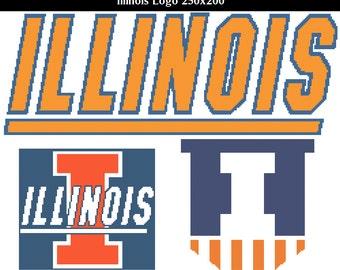 Illini Logo, Triple Pack -- Counted Cross Stitch Chart Patterns, 3+ sizes per pattern!