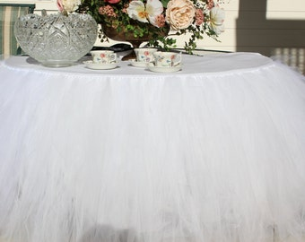 Round Tutu Tulle Table Skirt (over 37 colors options)