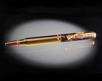 Rifle Bullet Pen -- Ballpoint Pen, Woodlands Camo -  Hunting Gift