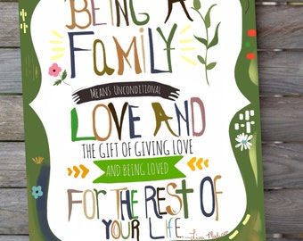 Being a family-print-illustration-prints-word Art-poster Art-colorful-typography print-8X10