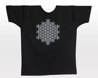Flower of Life T-shirt | S M L XL XXL | light reflective silver print | night glow | festival clothing