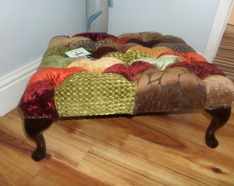 Patchwork Bespoke Queen Anne large Footstool