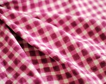 "Japanese Fabric Flannel ""Magic Plaid"" Wine Red"