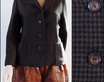 Vintage womans plaid hacking riding jacket brown black houndstooth check wool short jacket size small/medium