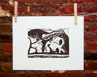 Beagle - Original Handmade Linocut Art Print - Dog