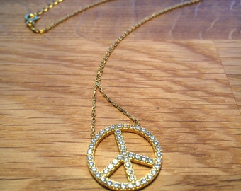 Peace Sign Necklace in Gold Plated .925 Sterling Silver and Zirconia • Cause its all About Peace and Bling