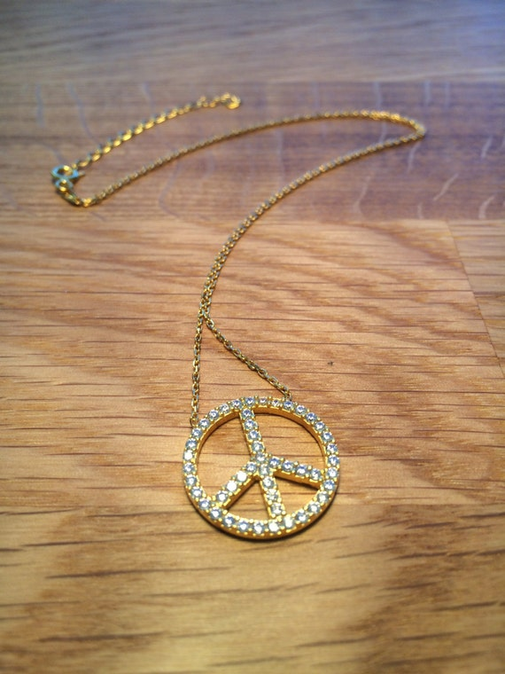 peace sign necklace gold