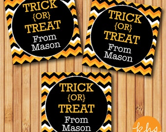Digital Printable Halloween Gift Tags - Trick or Treat Chevron Halloween Gift Tags - NAME PERSONALIZATION INCLUDED