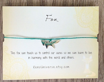Fox Make a Wish Bracelet - made with all natural hemp cord
