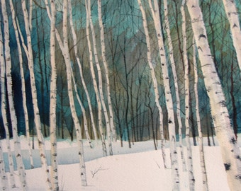 Birch Trees in the Snow  Print of Original Acrylic Painting already sold.