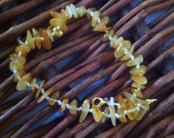 Baltic amber anklet - butterscotch on white