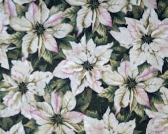 Tis The Season - White Poinsettias Fabric