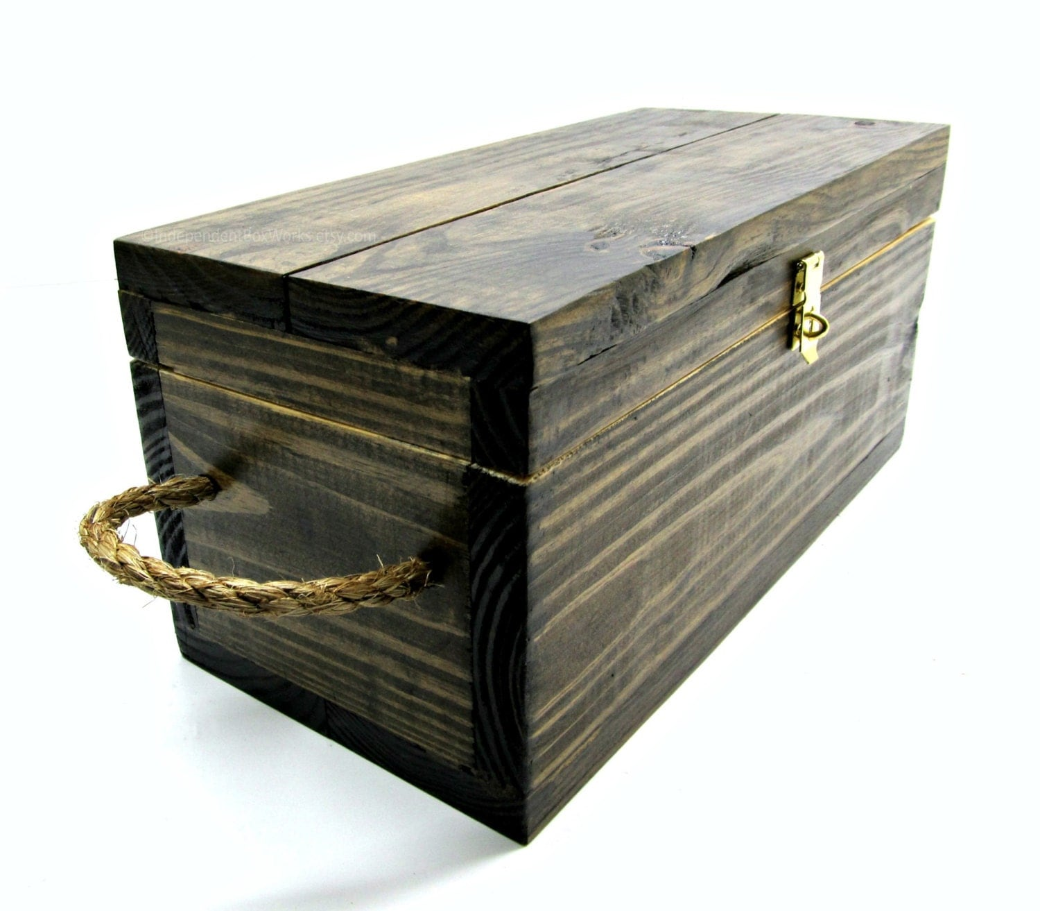 Rustic wooden gift box with rope handles stained medium