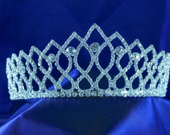 TIARA Austrian Crystal Rhinestone silver plated metal Wedding, Bridal, Prom, Pageant, Quinceañera S4849