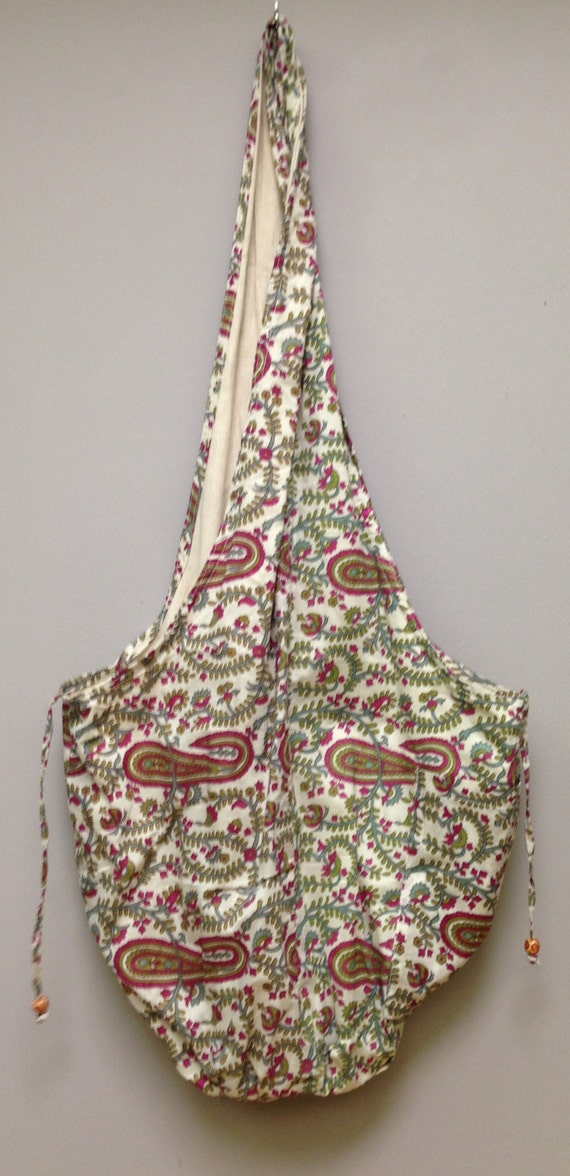 India Bag Paisley Shoulder Bag Handmade Cotton Hand Sewn Colorful Hand Stamped Fabric Gift for Her India Fun Shoulder Bag