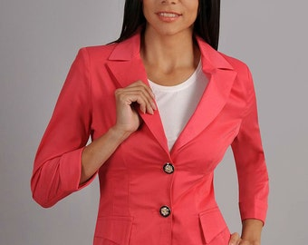 Classic jacket. Jacket for women. Autumn Coral jacket. Jacket with buttons. Casual jacket. Office jacket.