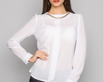 White blouse Chiffon blouse Office blouse for women Long sleeve blouse Every day blouse