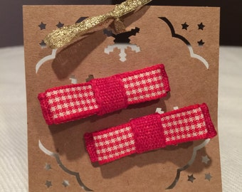 Red and White Hair Clips