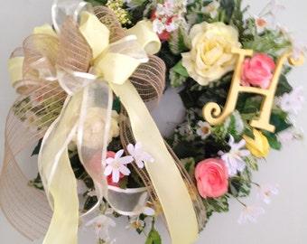 Monogrammed Grapevine wreath / triple bow wreath /Made in Maine / yellow monogram/Spring wreath/Summer wreath