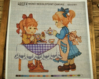 HandPainted Printed 18CT MONO Needlepoint Canvas Afternoon tea girl
