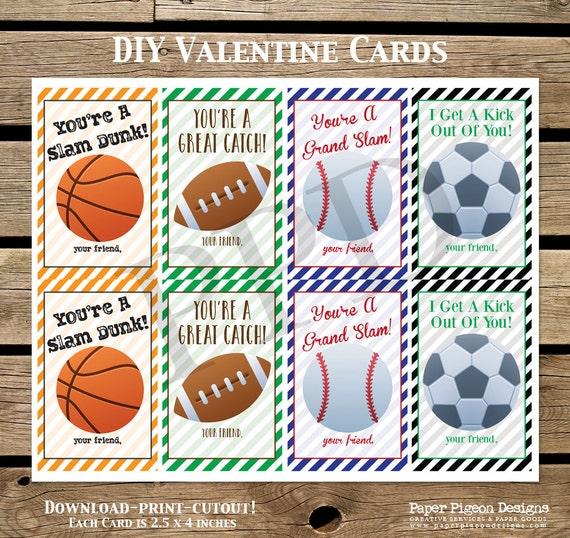 sports diy valentine cards diy valentine card printable sports card baseball football soccer basketball valentine cards digital files