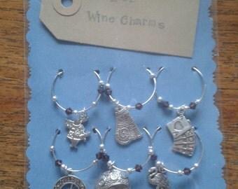 Alice in Wonderland Wine Charms Set of 6