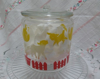 Vintage glass jar, vintage glass animal jar
