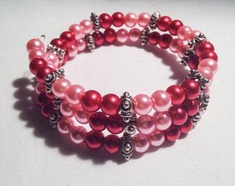 Pink bracelet, red bracelet, pink bead bracelet, red bead bracelet, pink wrap bracelet, red wrap bracelet