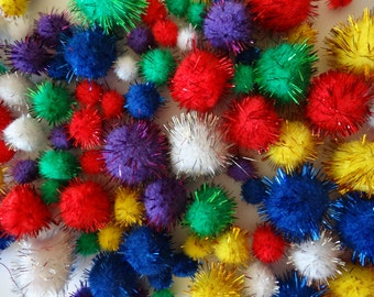 Pack of 100 Glitter Pom Poms in assorted Sizes