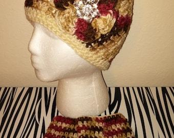 Burgundy Mix Crochet Hat & Fingerless Gloves Set