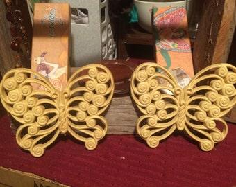 Pair of Vintage Homco Wall Hanging Butterflies