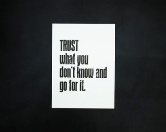 Letterpress 'TRUST.....', original Art Print, made with old wood type, limited edition, size 30x40 cm.