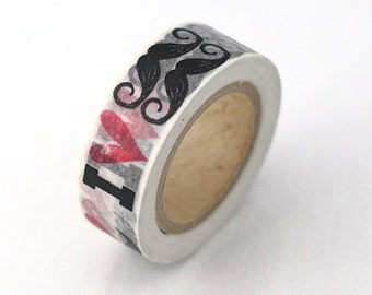 I Heart 'Staches Washi Tape 15mm x 10 yards.
