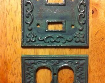 Cast Iron  Switch Plate Cover Set  of  Two- Fleur de Lis -  Home Decor