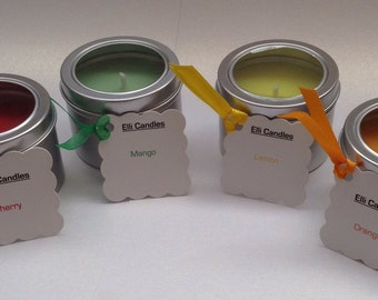 Lovely scented candles in silver tins with clear lids in a range of fruity scents