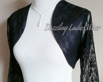 Black Lace & Satin Bolero 3/4 Sleeves / Shrug / Jacket / Shawl / Stole/Wrap Fully Lined - UK 4-26 / US 1-22 - Formal/Wedding/Bridal/Evening