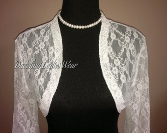 Lace Bolero 3/4 Sleeves / Shrug / Jacket / Shawl / Wrap - UK 4-26 / US 1-22 - Colours available: black & ivoryFormal/Wedding/Bridal/Evening