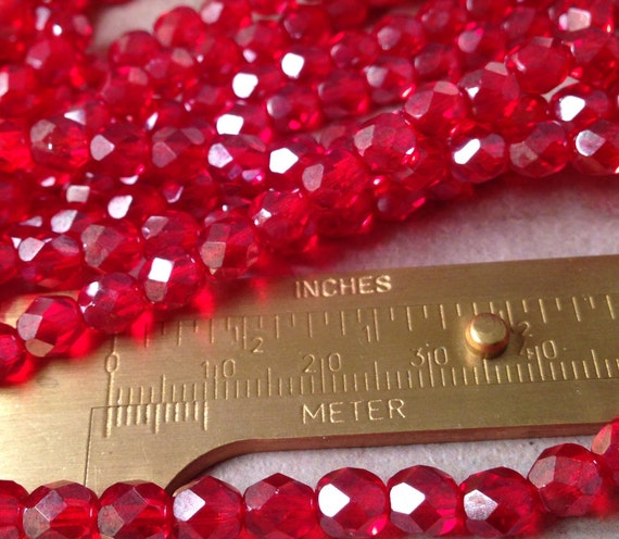 Mm Holly Red Glass Beads